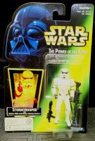 Star Wars POTF: Stormtrooper - Green Card 'Holo' Action Figure MOSC